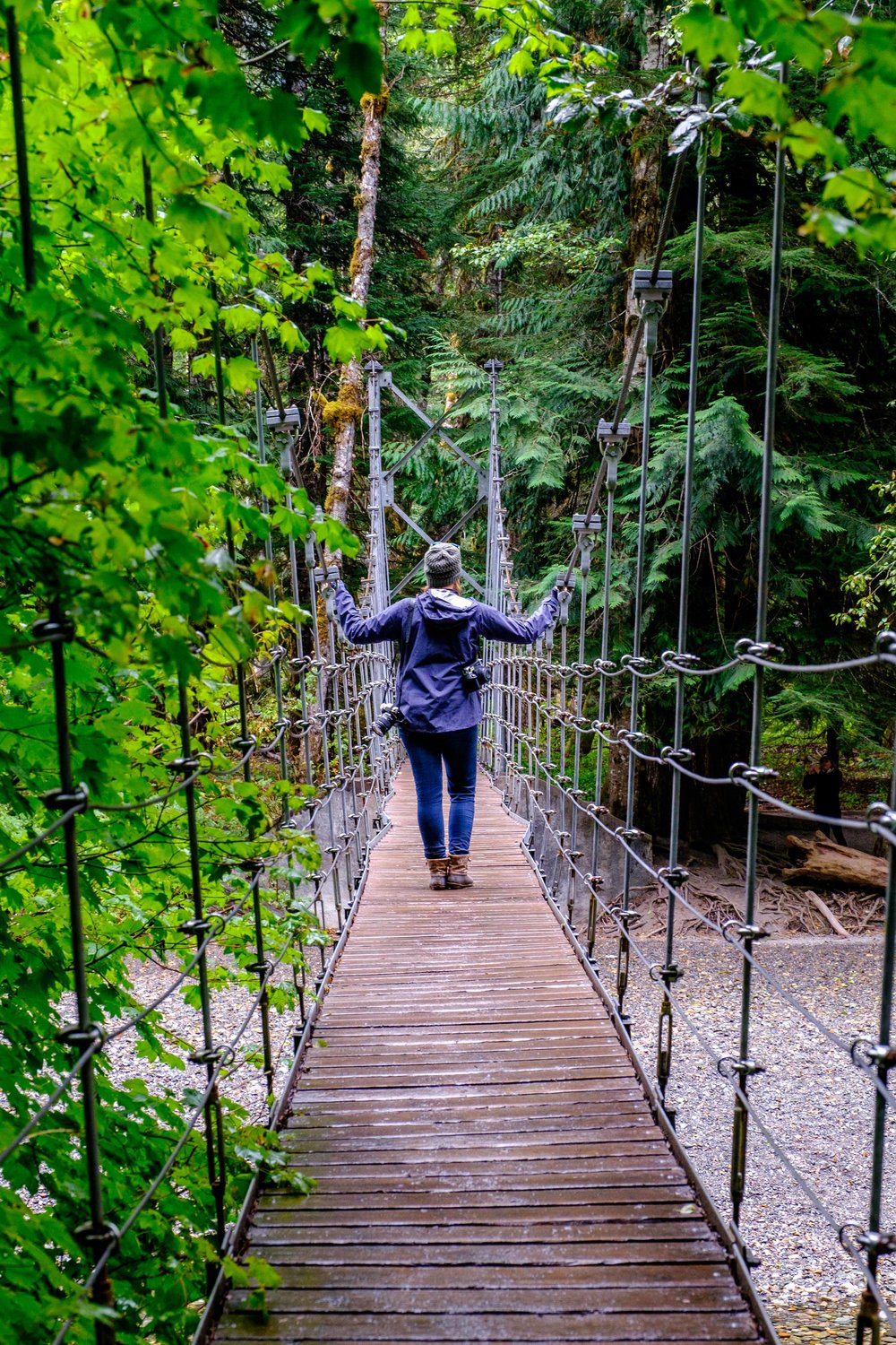 Crossing the Ohanapecosh River suspension bridge along the  Grove of the Patriarchs  trail... in search of thousands-of-years-old trees at the trails end.
