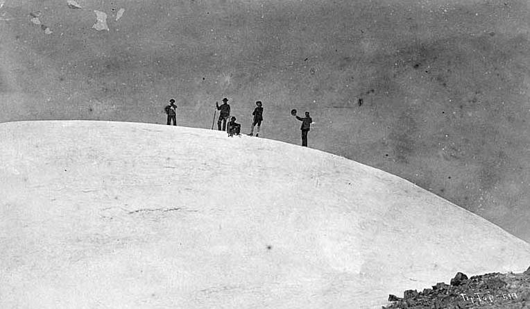 John Muir and his climbing team at the summit of Mount Rainier in 1888. Pictured left to right: D.W. Bass, P.B. Van Trump, John Muir, N.O. Booth, E.S. Ingraham. (Photograph by Arthur Churchill Warner)