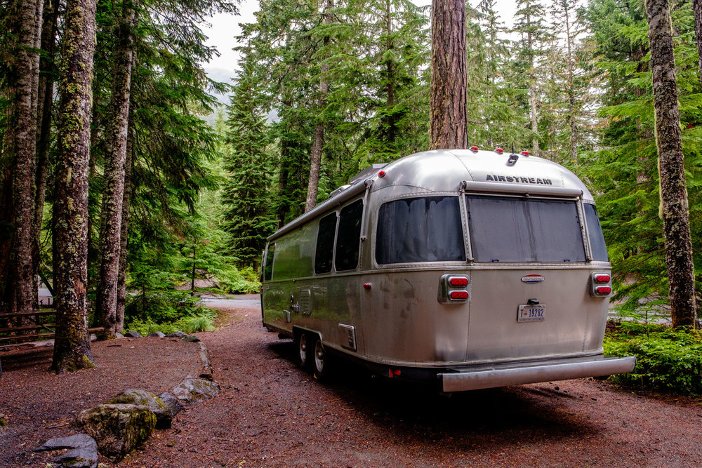 Camping with Wally at the popular Cougar Rock Campground in Mount Rainier National Park!