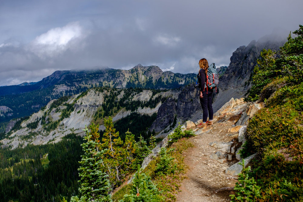 Stef taking in the views along the sub-alpine Sourdough Trail.