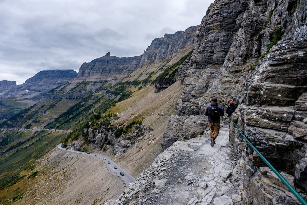 The Highline Trail follows above the Going-To-The-Sun Road for awhile.