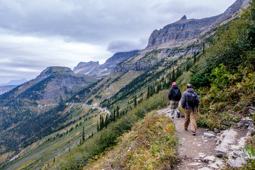 A most classic view of the Highline Trail as it starts out from the trailhead at Logan Pass.