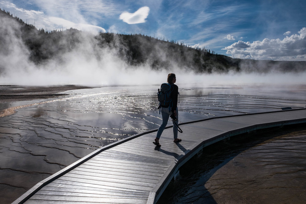 One of our favorite areas of the park is definitely the walkway to Grand Prismatic Spring.
