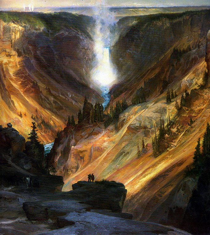 "Although Yellowstone had been thoroughly tracked by tribes and trappers, in the view of the nation at large it was really ""discovered"" by formal expeditions. The art of Thomas Moran helped promote national interest in Yellowstone.   Credit: NPS / Thomas Moran, YELL 8536"
