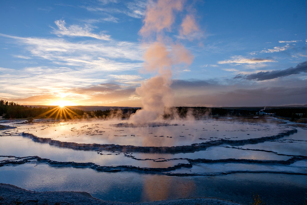 The Great Fountain Geyser at sunset.