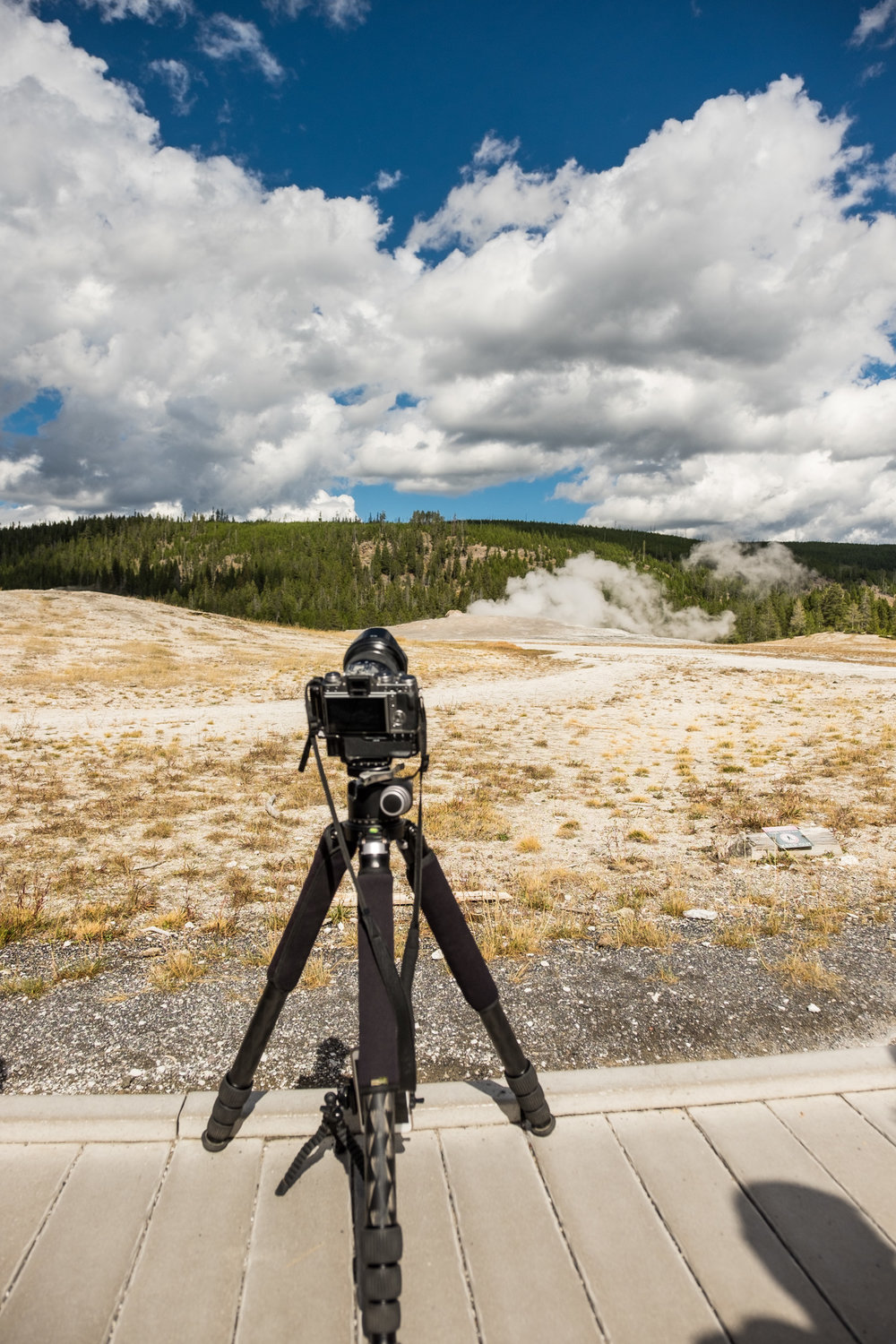 Capturing timelapse of geysers in Yellowstone National Park in Montana/Idaho/Wyoming.