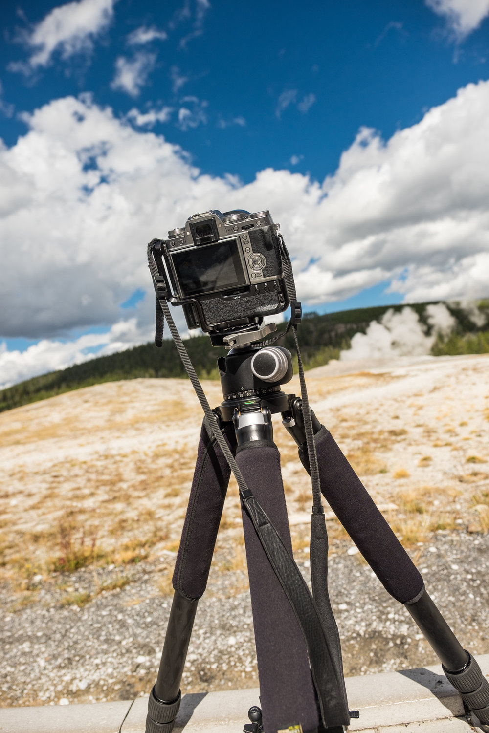 Capturing a timelapse of geyser activity in Yellowstone National Park in Montana/Idaho/Wyoming.
