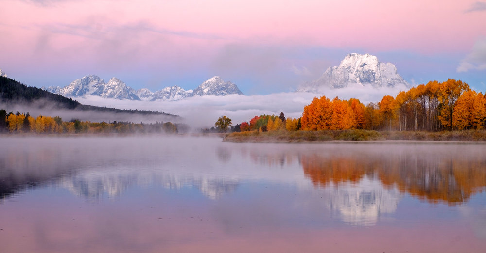Oxbow Bend at sunrise during autumn.
