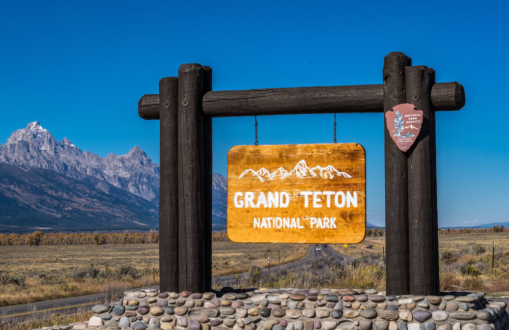 One of the entrance signs to Grand Teton National Park.
