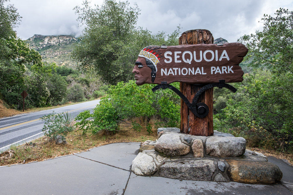 The entrance to Sequoia National Park.