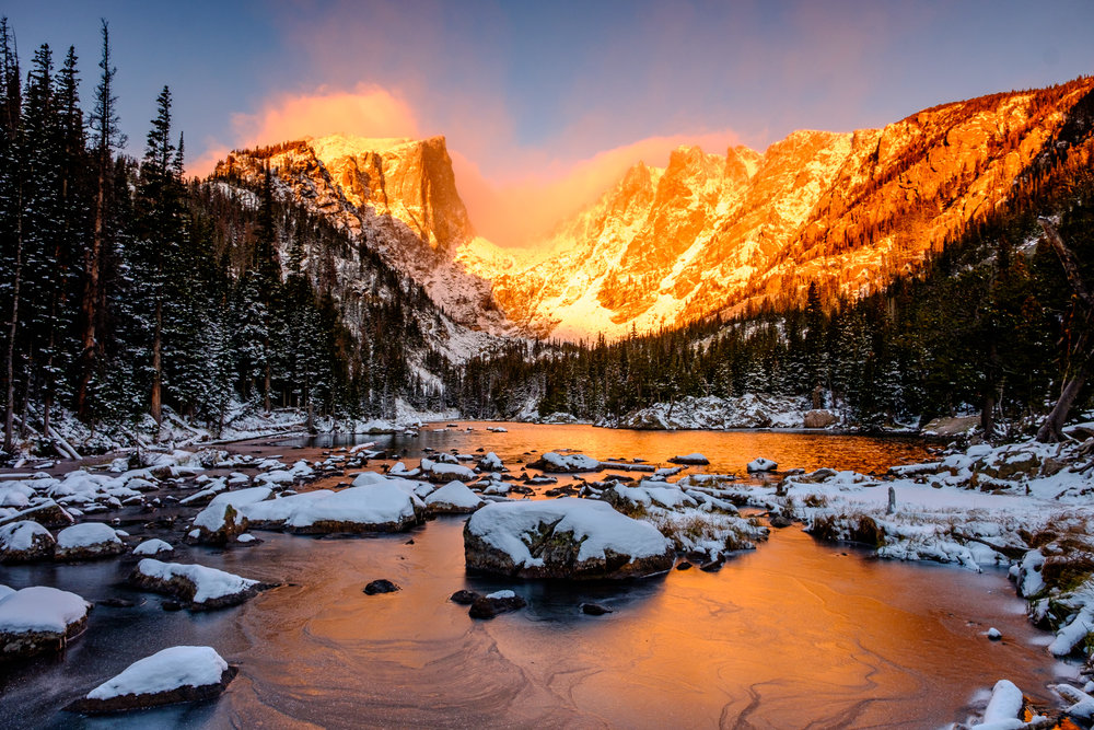 A spectacular sunrise at Dream Lake.