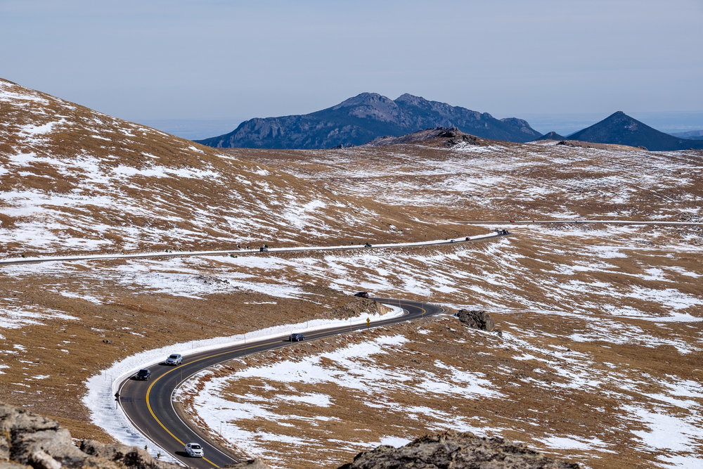 Trail Ridge Road nearing the highest point on the alpine tundra.