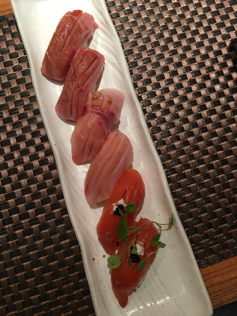 Wild yellowtail buri—maybe the best either of us has had, yellowtail toro, salmon with truffle. YUM.