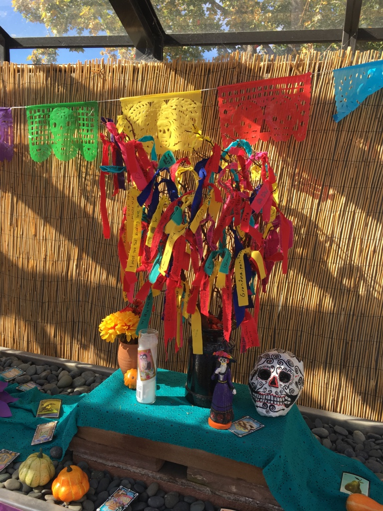 A seasonal exhibit teaching about the culture of the Day of the Dead, or Dia de Los Muertes.