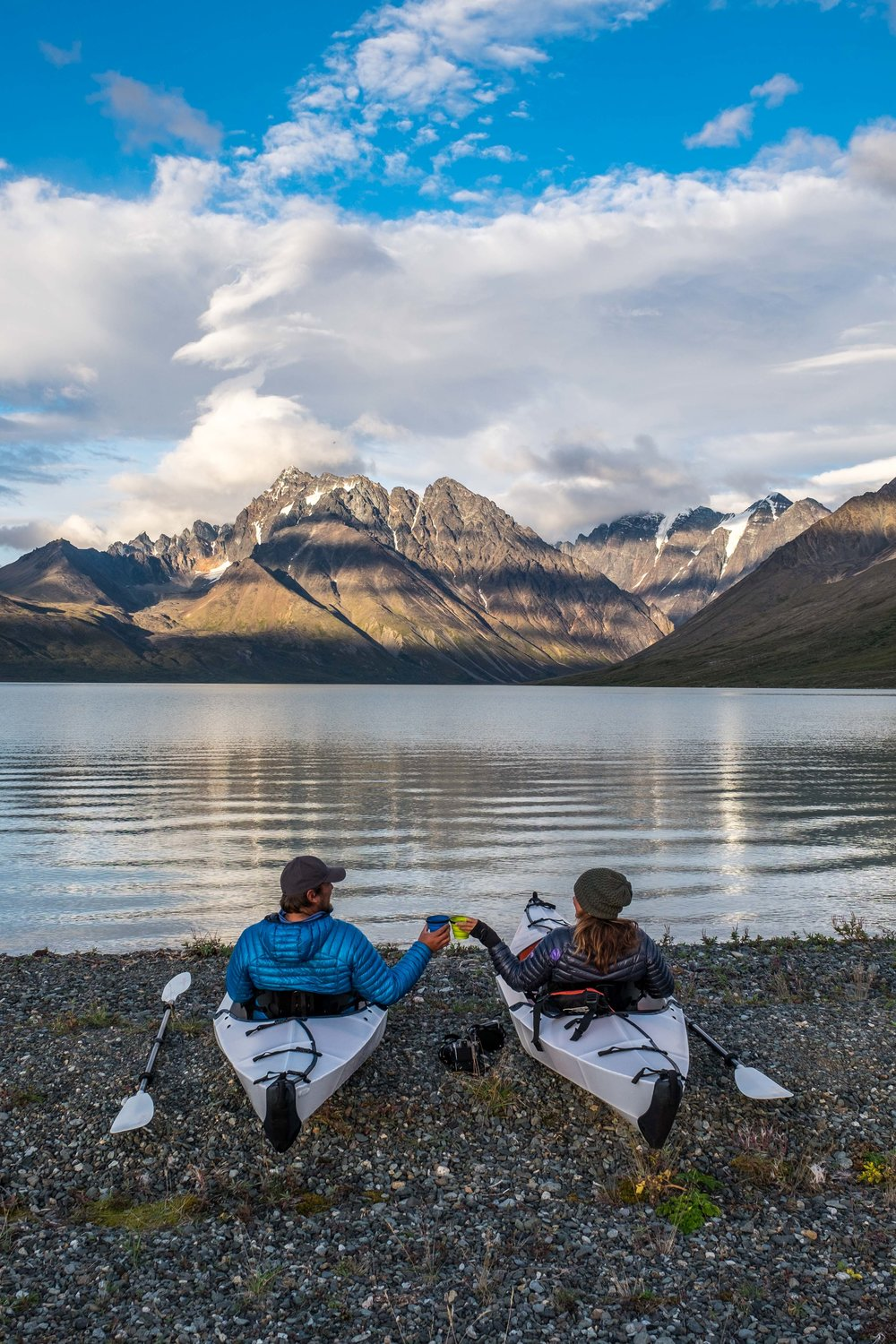 Kickin' it lakeside in our Oru Kayaks and sipping some wine in Lake Clark National Park in Alaska. Shot with FUJIFILM X-T1.