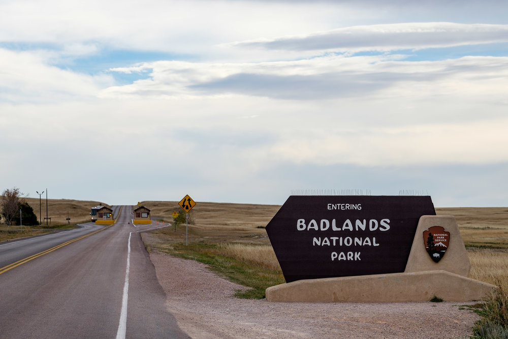 Entrance sign at Badlands in South Dakota.