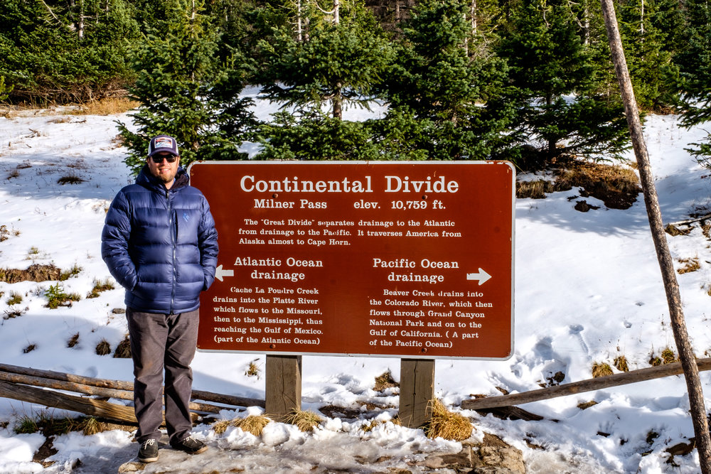 The Continental Divide marker in Rocky Mountain National Park in Colorado.