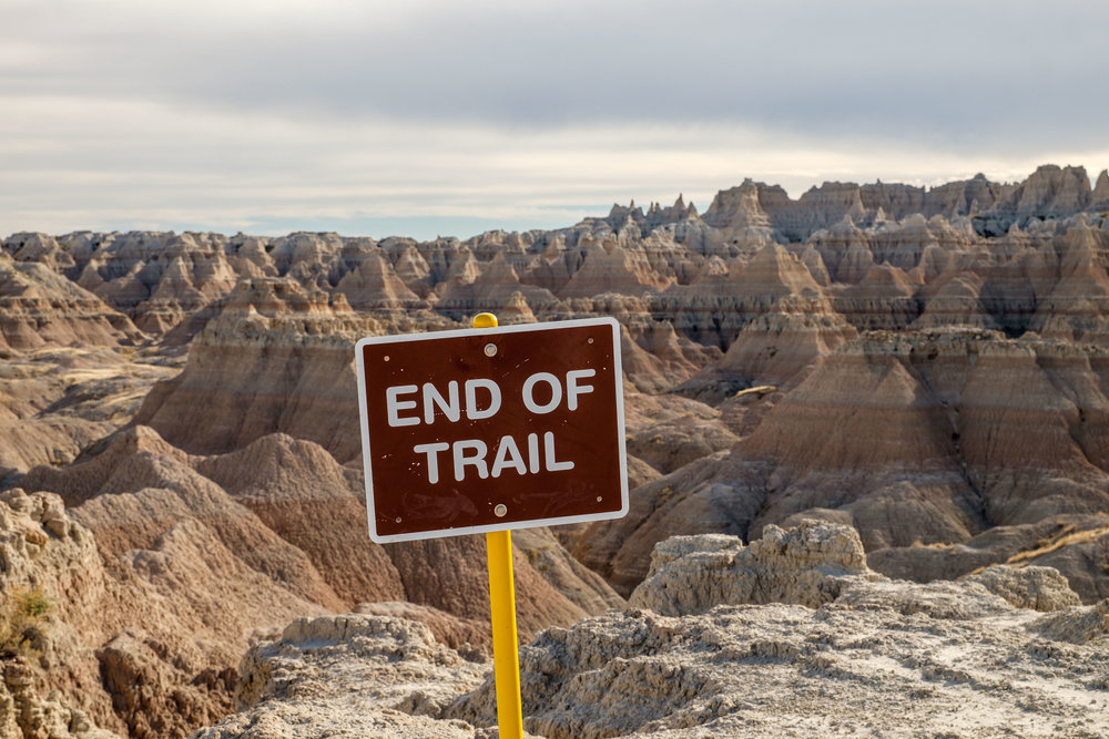 End of trail in Badlands National Park in South Dakota.