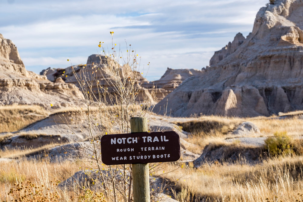 Heading off on the trail in Badlands National Park.