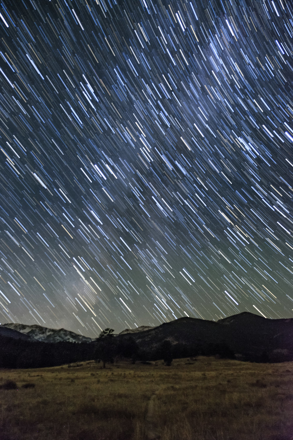 Star trails in Rocky Mountain National Park in Colorado.
