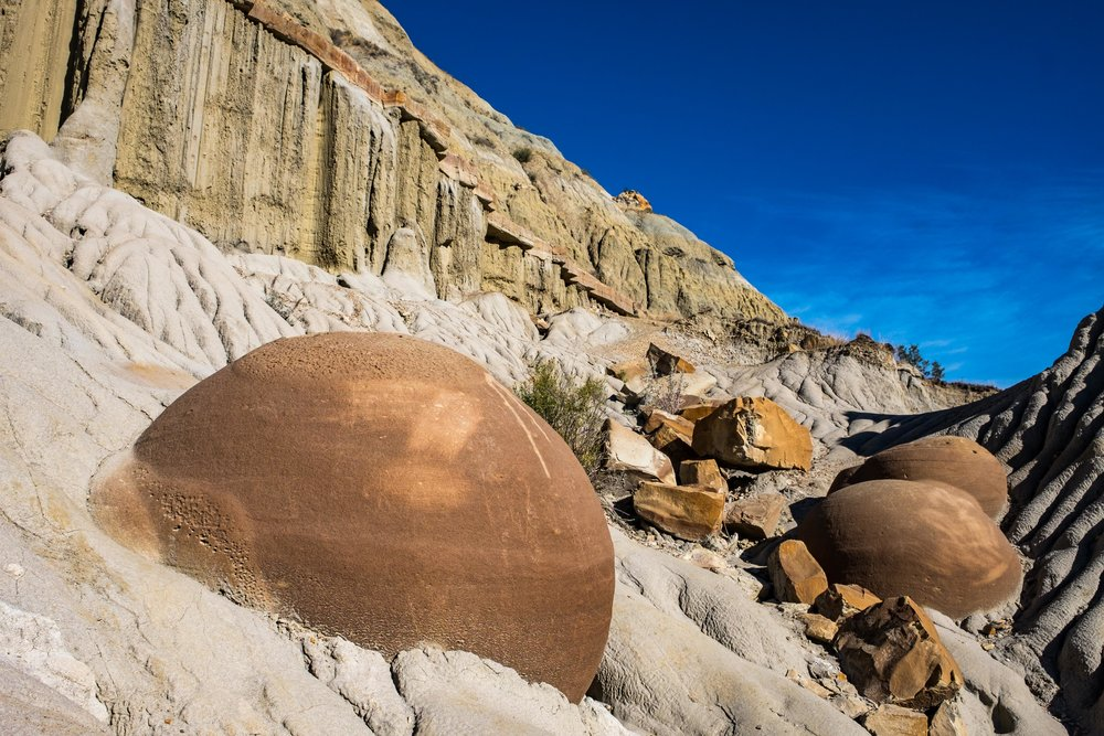 Otherwordly geology: the Cannonball Concretions in the north unit.