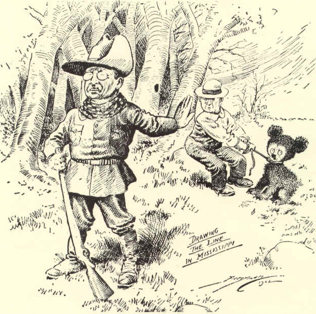 "The original ""teddy bear"" was named after President Theodore Roosevelt and was illustrated in this 1902 Washington Post political cartoon."