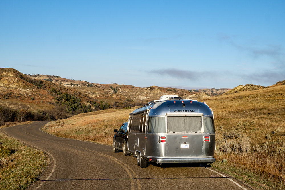 Wally the Airstream on the scenic park road in the south unit.