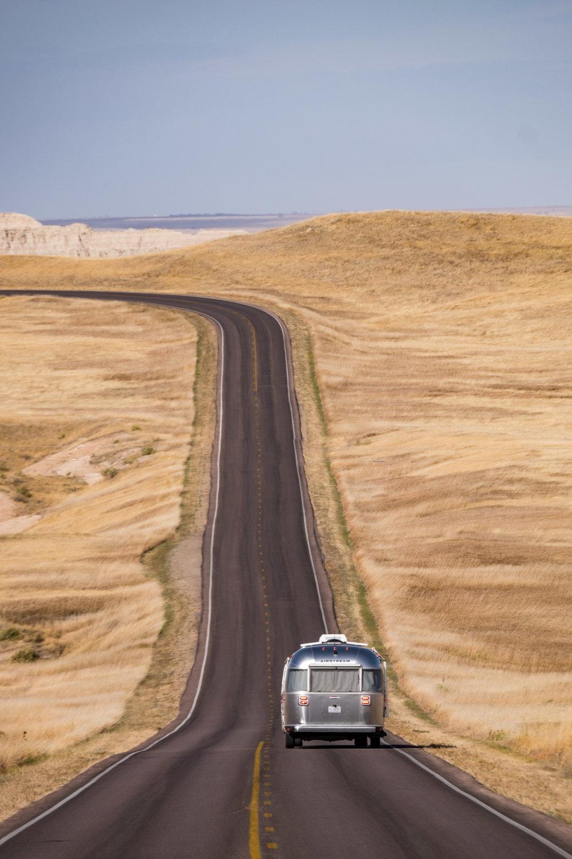 Epic road shot in the Badlands in South Dakota.