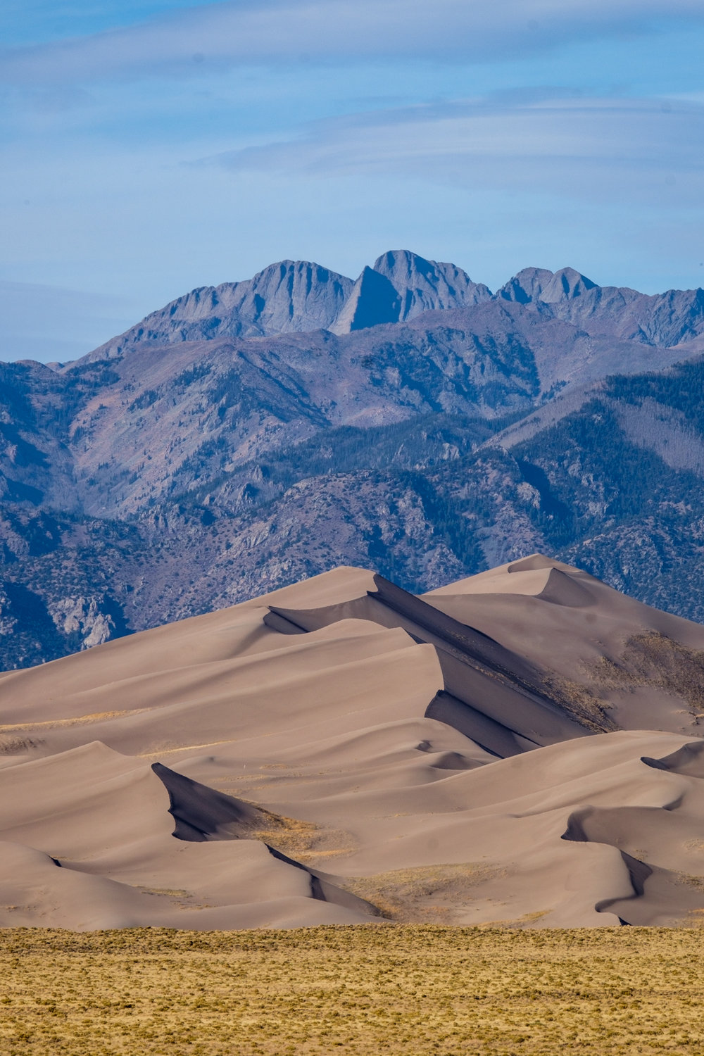 The dunes provide a stark contract to the Sangra de Cristo mountains as a backdrop.