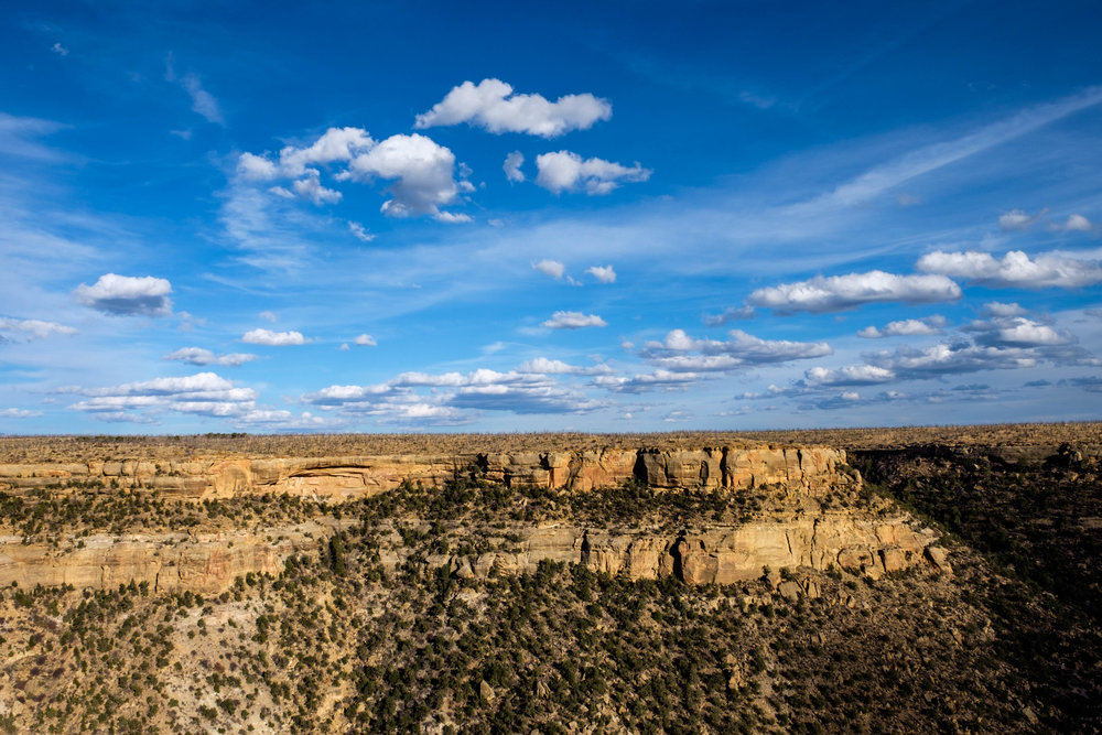 A typical view of the mesa and mountains of Mesa Verde National Park.