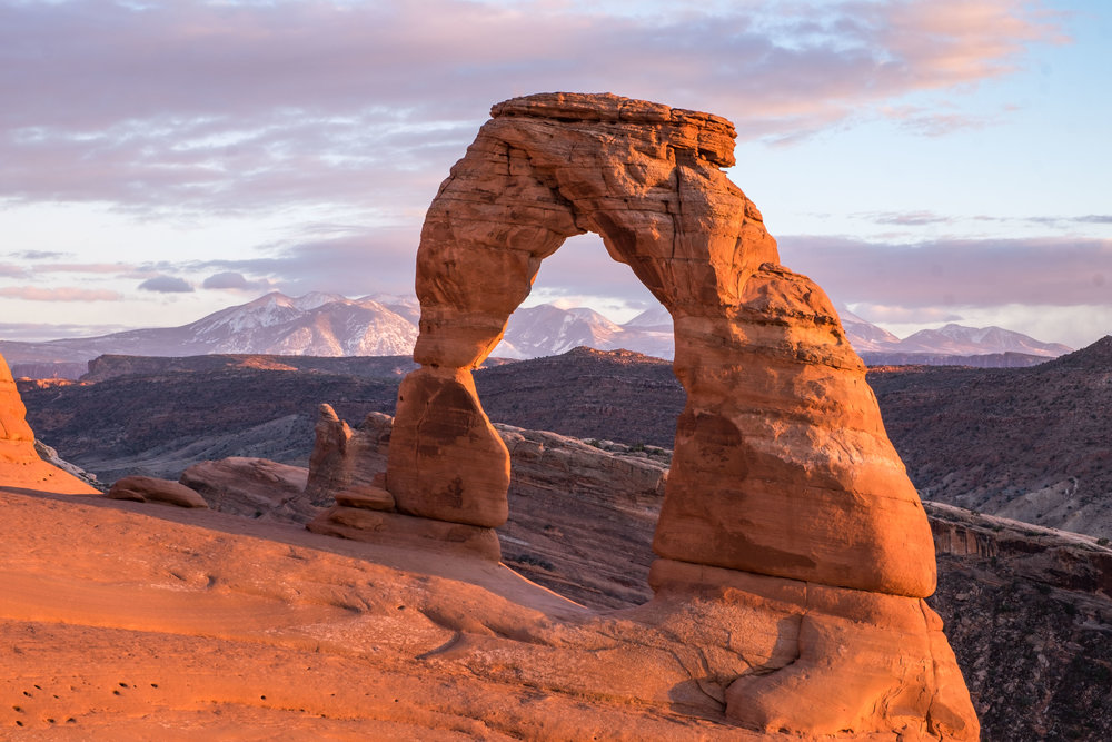 Delicate Arch – Utah's crown geologic jewel – as seen from the Upper Delicate Arch Viewpoint.