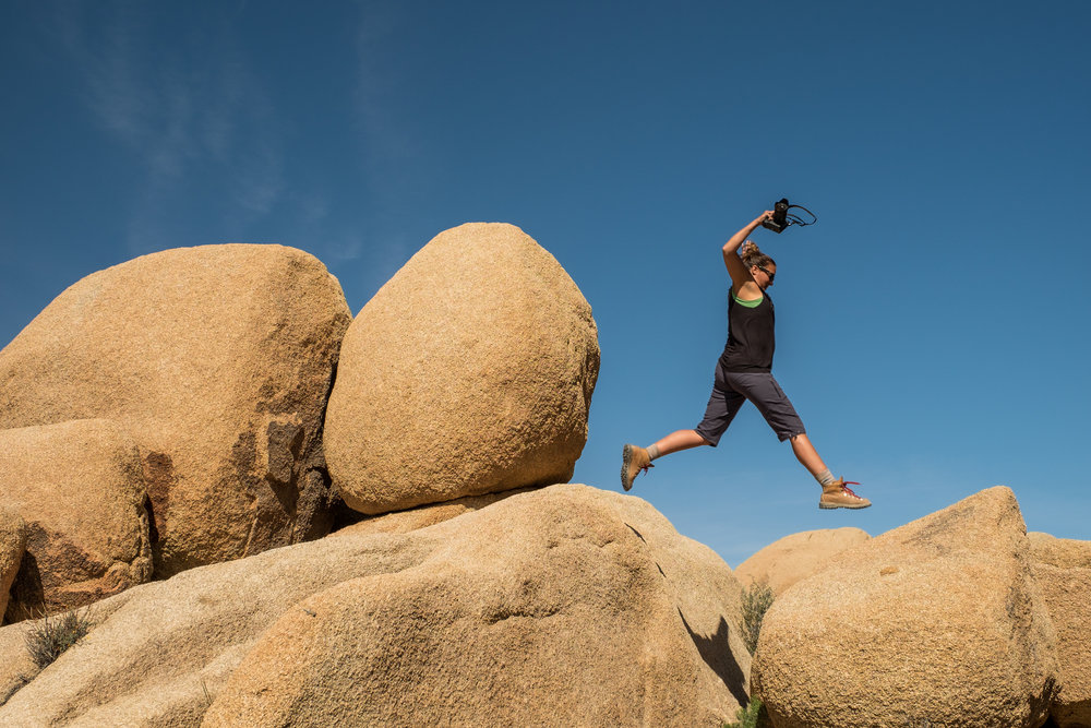 Bouldering in Joshua Tree National Park in the Mojave Desert in California is fit for all ages, fun, and free!Credit: JONATHAN IRISH