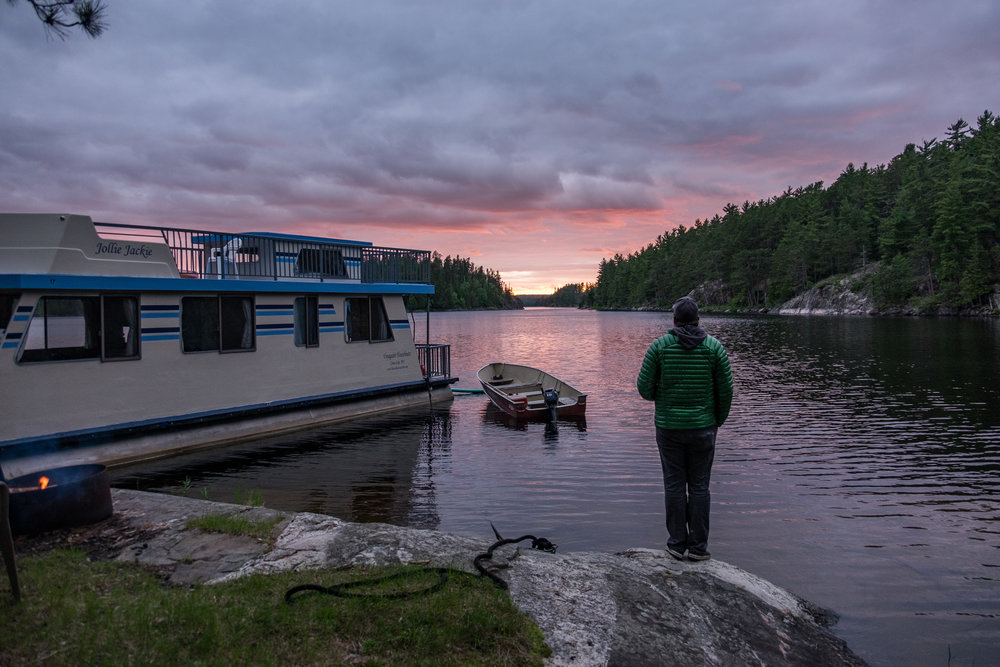Catching the sunset at our house boat tie-up camping spot in Voyageurs National Park on the American border with Canada. Credit: JONATHAN IRISH