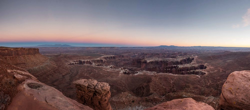 Grand View Point Overlook, at the end of the road in the Islands in the Sky unit, is one of the best places to see the many canyons of Canyonlands.