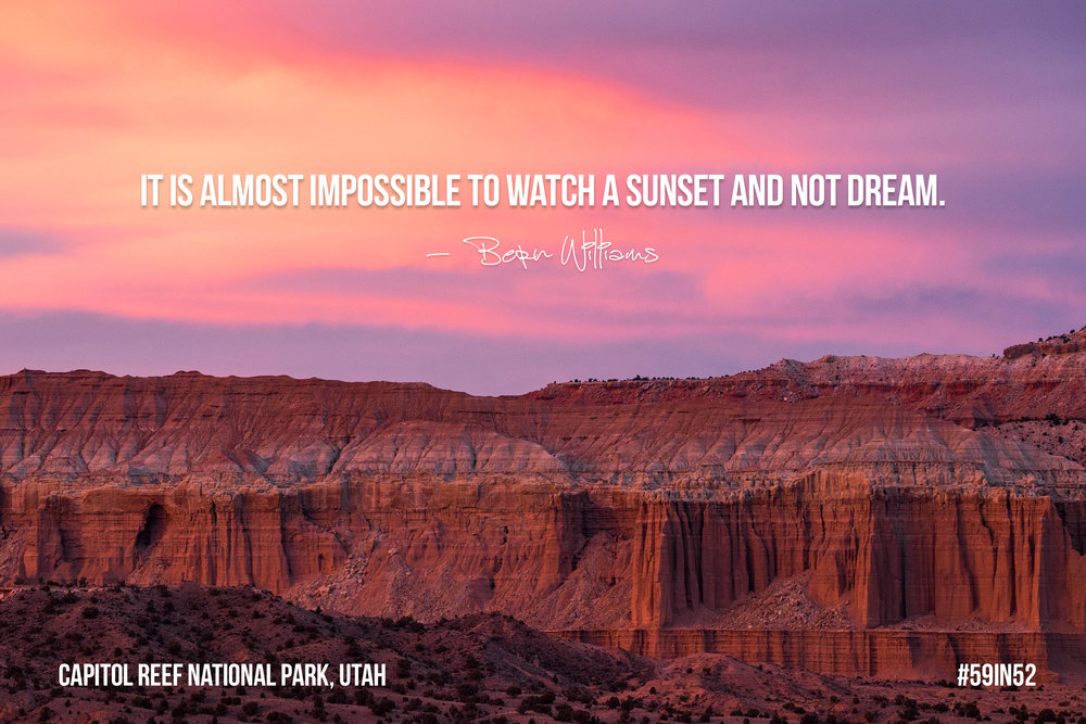 """It is almost impossible to watch a sunset and not dream."" - Bern Williams"