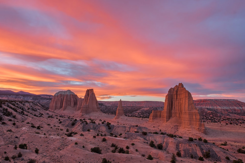 Monoliths during a spectacluar November sunset in the Upper Cathedral Valley.