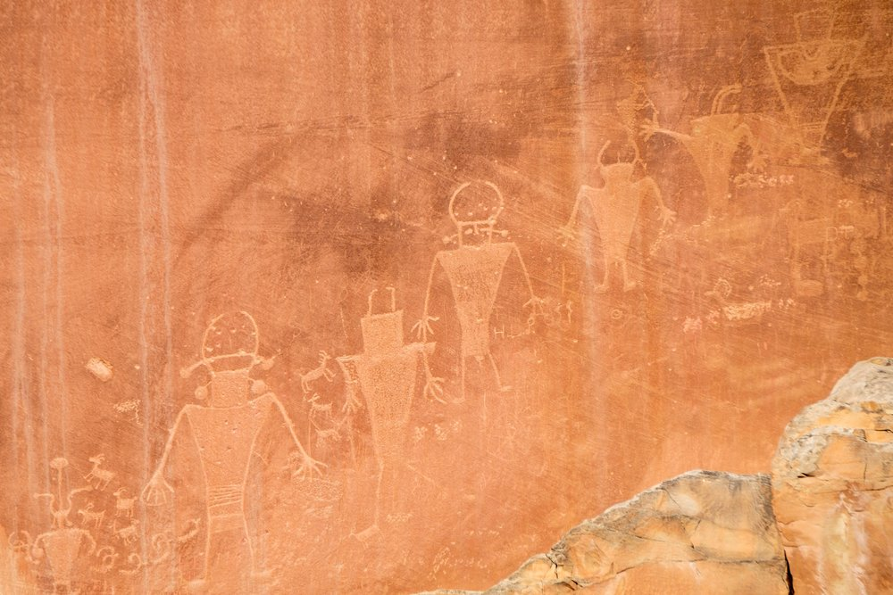 Detail shot of the Fremont Petroglyphs.