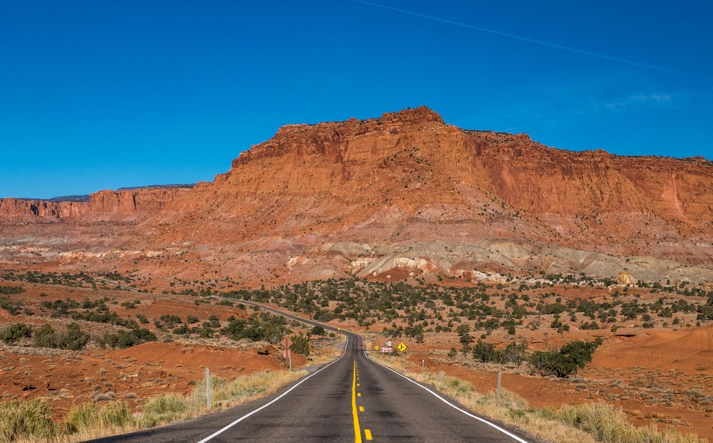 Looking back on Capitol Reef National Park on scenic byway 24.