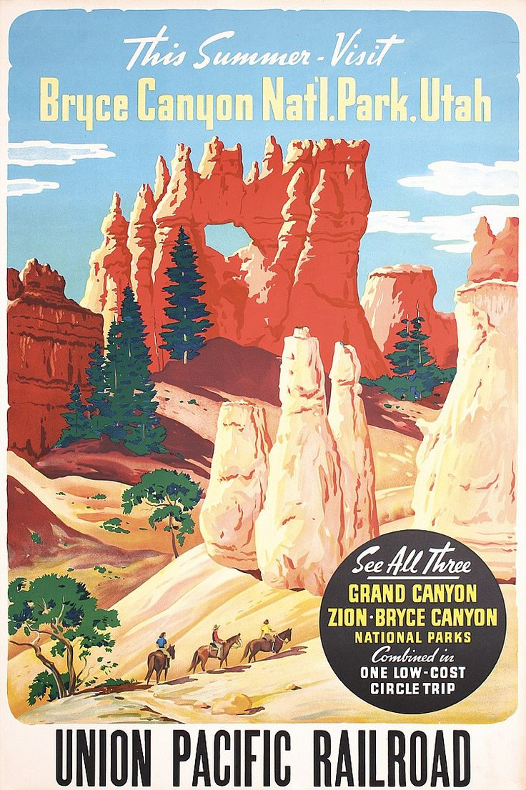 Union Pacific Railroad Marketing posters from the 1930s and 1940s.