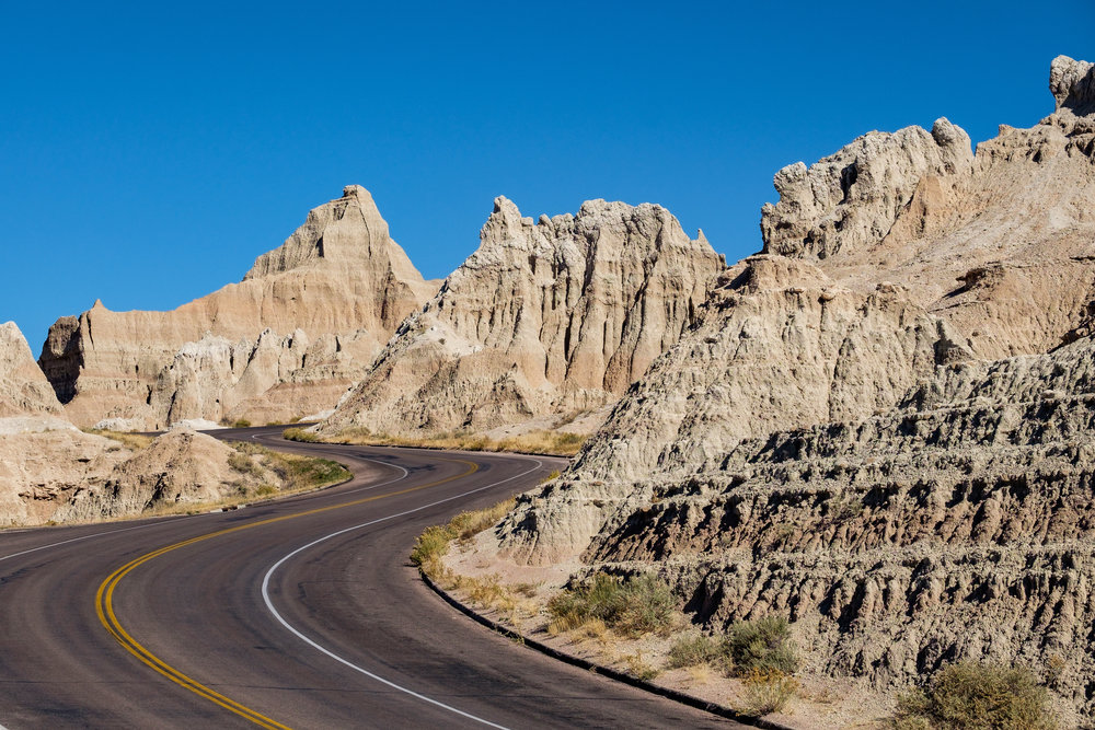 Badlands Loop Road in Badlands National Park in  South Dakota .