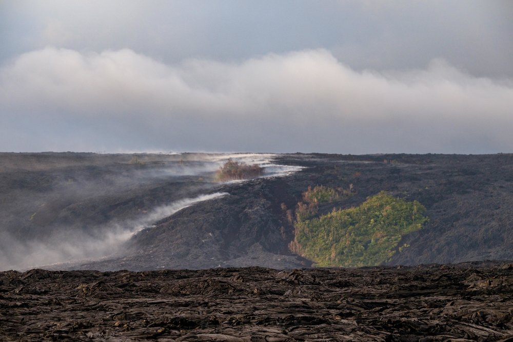 Looking back at the hillside it is easy to see where lava is coming from.