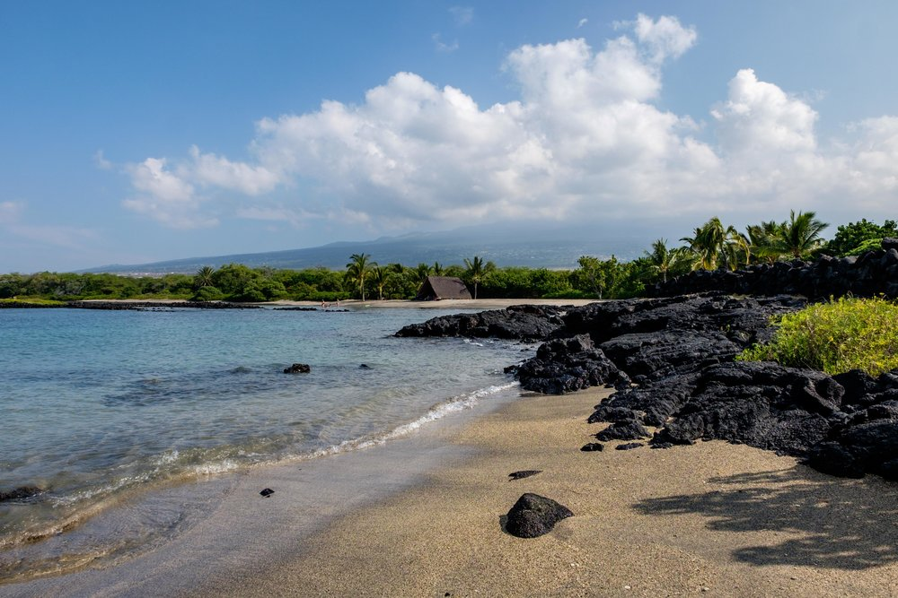 The Pu'uhonua o Honaunau National Historical Park is located 20 miles south of the Kona airport.