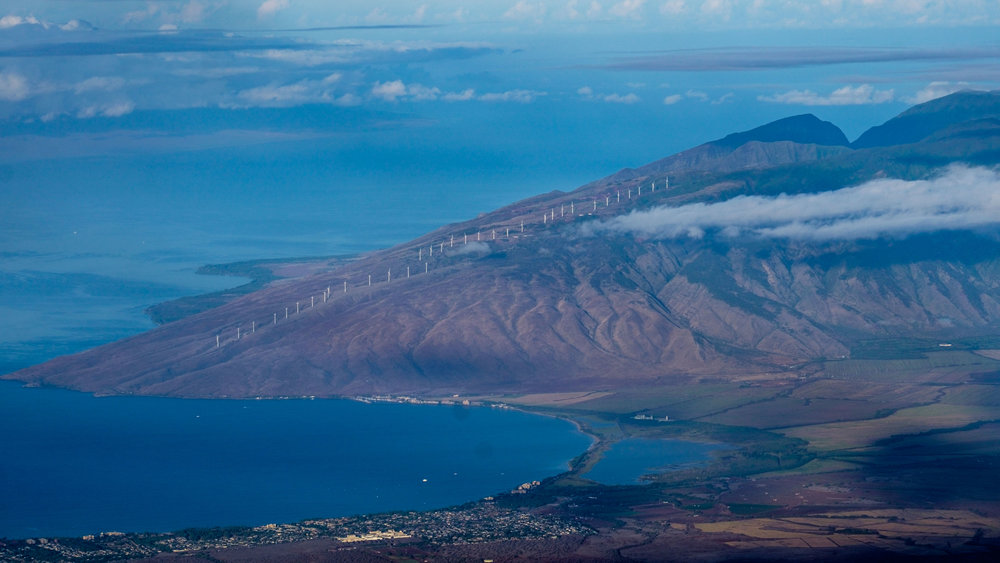 Our first stop was at the crater rim to take in the views. This shot looks back onto the far slopes of the island of Maui.