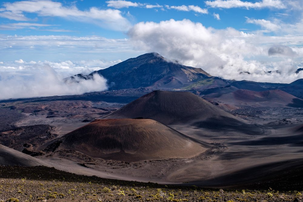 This is a great view of the many craters on the floor of Haleakala.