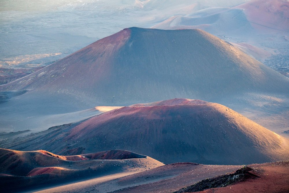 View from the top of the Haleakala Crater just after sunrise.