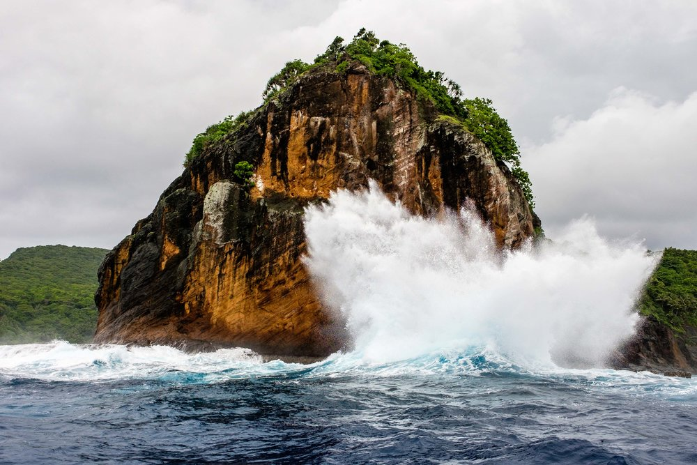 Waves pummel protected land on the island of Ofu.