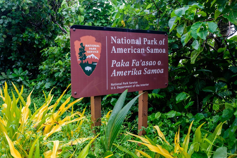The National Park Service sign on the island of Ta'u.