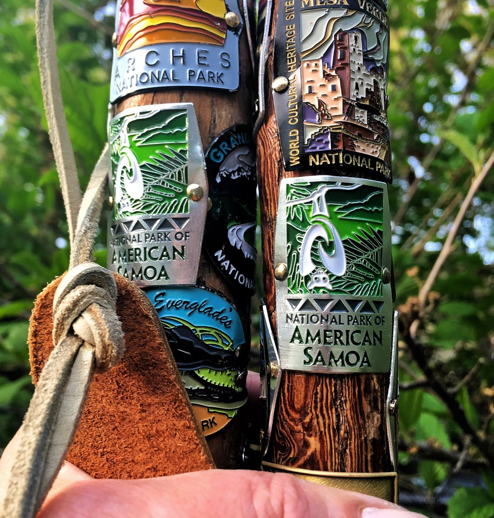 Hiking stick medallions from the National Park of American Samoa