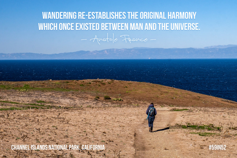 """Wandering re-establishes the original harmony which once existed between man and the universe."" - Anatole France"