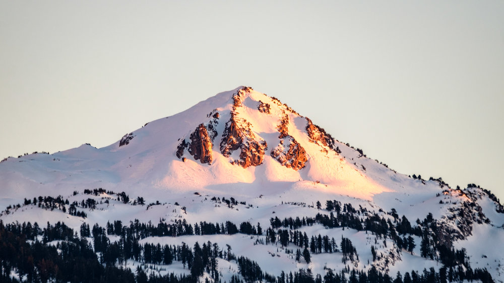Lassen Peak under alpenglow.